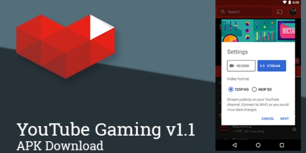 YouTube Gaming permite streaming via Android
