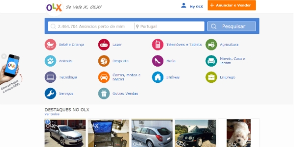 O site do OLX está mais intuitivo